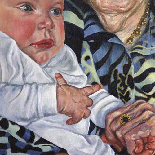 Portret 'Baby op schoot' door Hanny de Beer