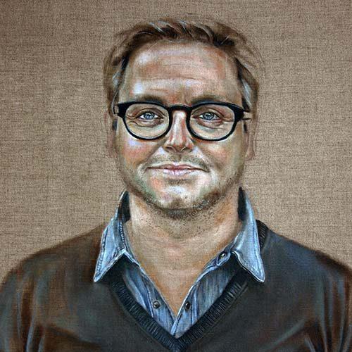 Guus Meeuwis geschilderd door Hanny de Beer