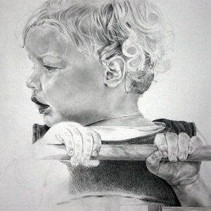 Hilde in schommel | Potlood op papier | Door Hanny de Beer